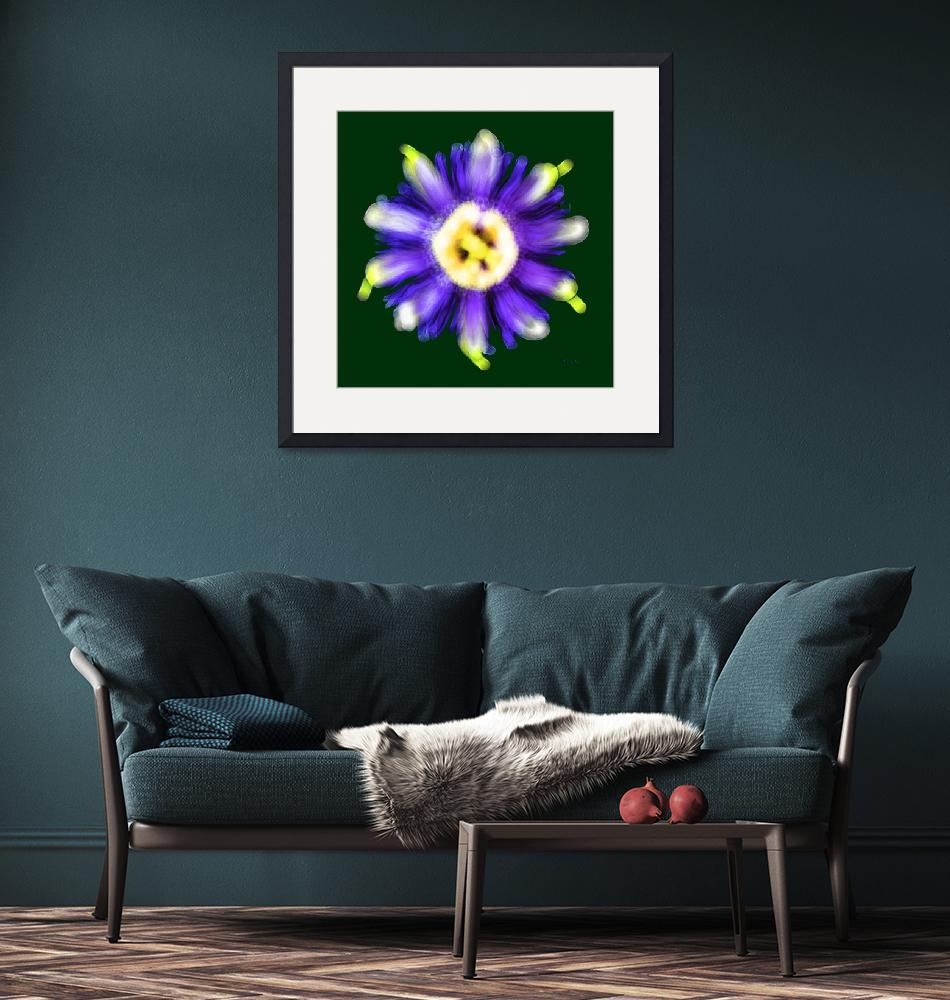 """""""Abstract Passion Flower Violet Blue Green 002g""""  (2018) by Ricardos"""