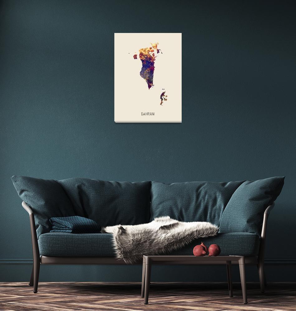 """Bahrain Watercolor Map""  (2019) by ModernArtPrints"