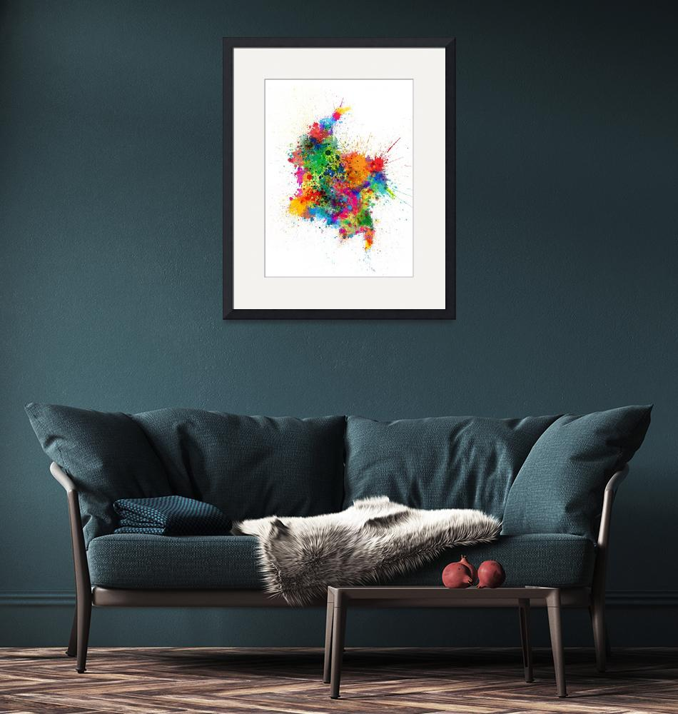 """""""Colombia Paint Splashes Map""""  (2017) by ModernArtPrints"""