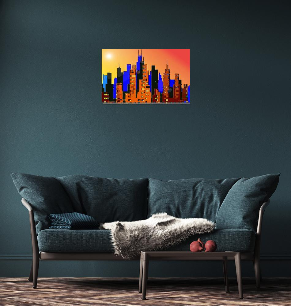 """""""Cityscape 1""""  (2009) by Chicagoartist1"""