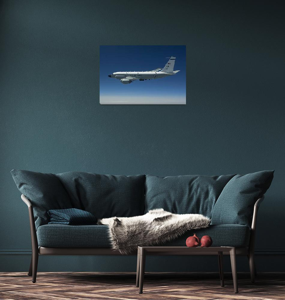 """""""An RC-135W Rivet Joint aircraft flies over the Mid""""  by stocktrekimages"""