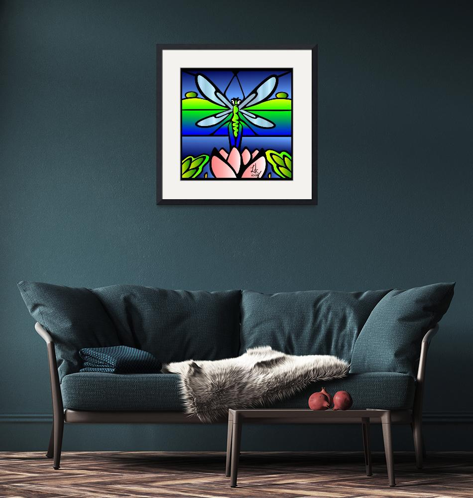 """""""Stained Glass Dragonfly"""" (2007) by elledeegee"""