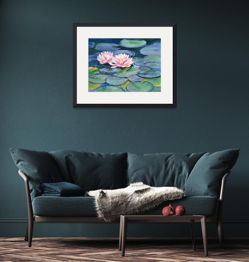 """""""Pink Waterlilies with Colorful Pads""""  (2017) by Pacific-NW-Watercolors"""