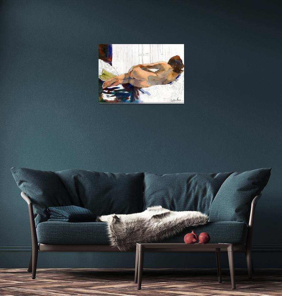 """""""Half Finished, Work in Progress Female Nude Waterc""""  (2011) by schulmanart"""