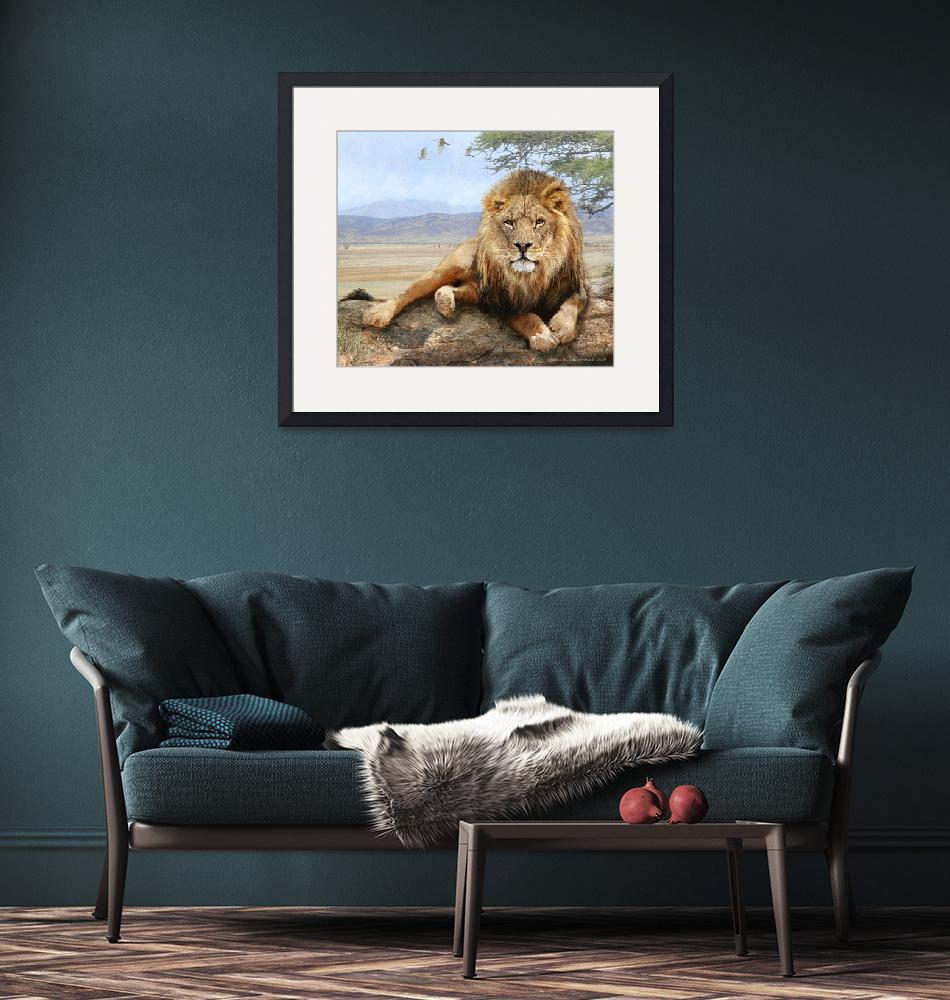 """kopje rock-- african lion reclining""  (2016) by rchristophervest"