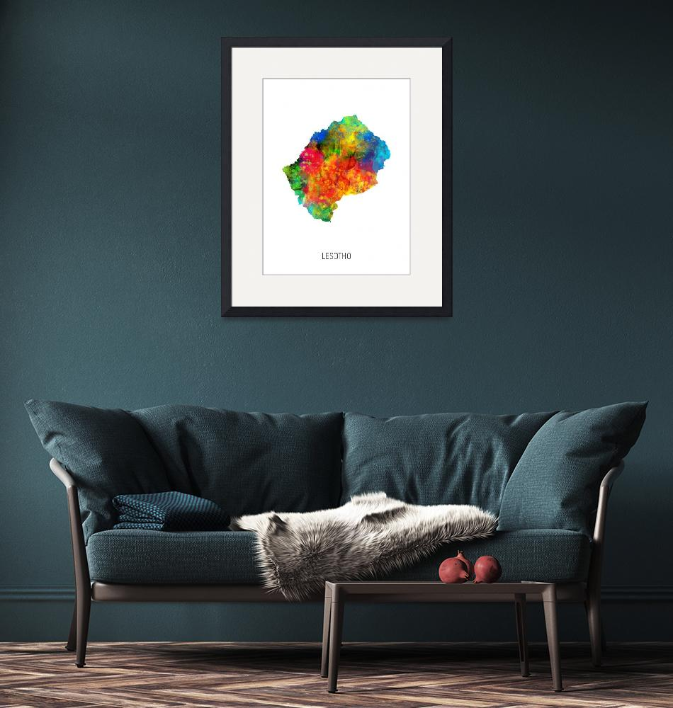 """Lesotho Watercolor Map""  (2019) by ModernArtPrints"