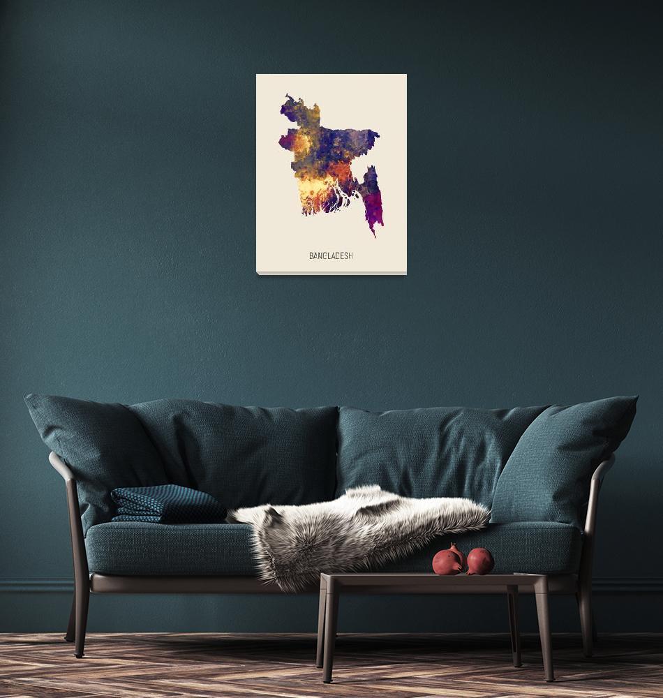 """""""Bangladesh Watercolor Map""""  (2019) by ModernArtPrints"""