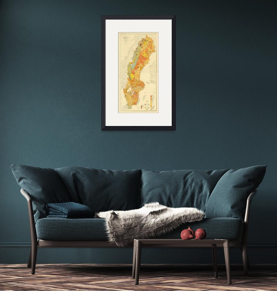 """""""Vintage Geological Map of Sweden (1910)""""  by Alleycatshirts"""