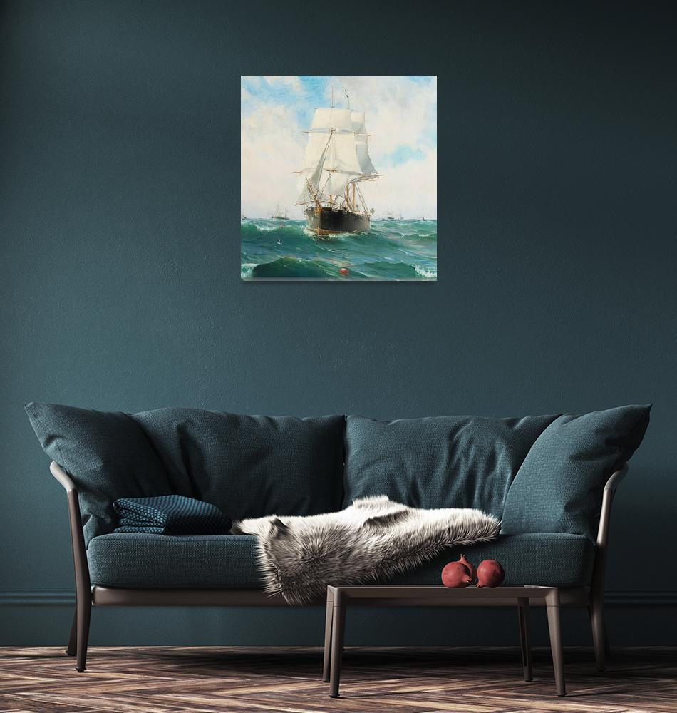 """Vintage Swedish Sailboat Painting (1887)""  by Alleycatshirts"