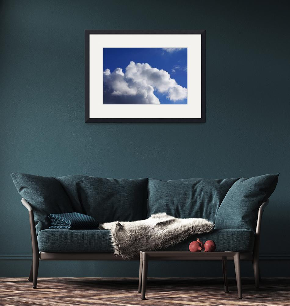 """Blue Sky Art prints White Clouds Canvas Framed""  (2014) by BasleeTroutman"