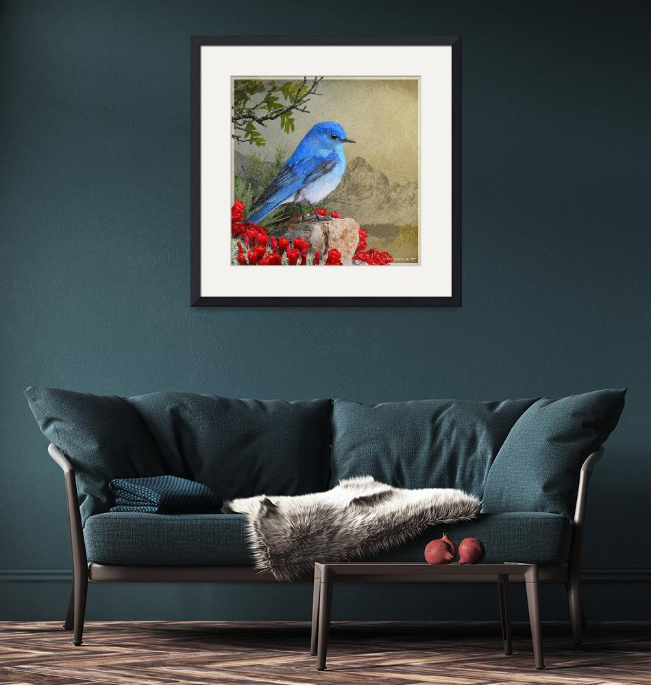 """""""mountain bluebird and claret cup""""  (2017) by rchristophervest"""