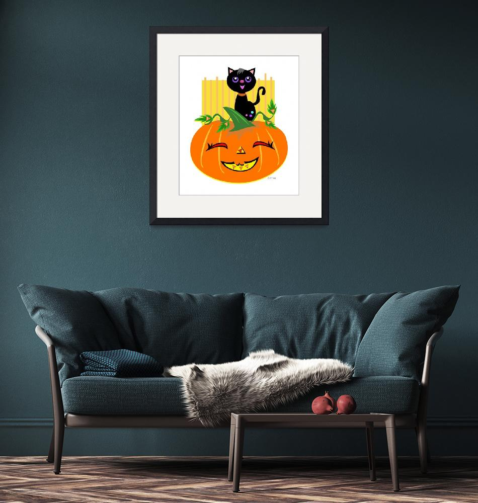 """""""Halloween Pumpkin and Black Cat""""  (2011) by theblueplanet"""