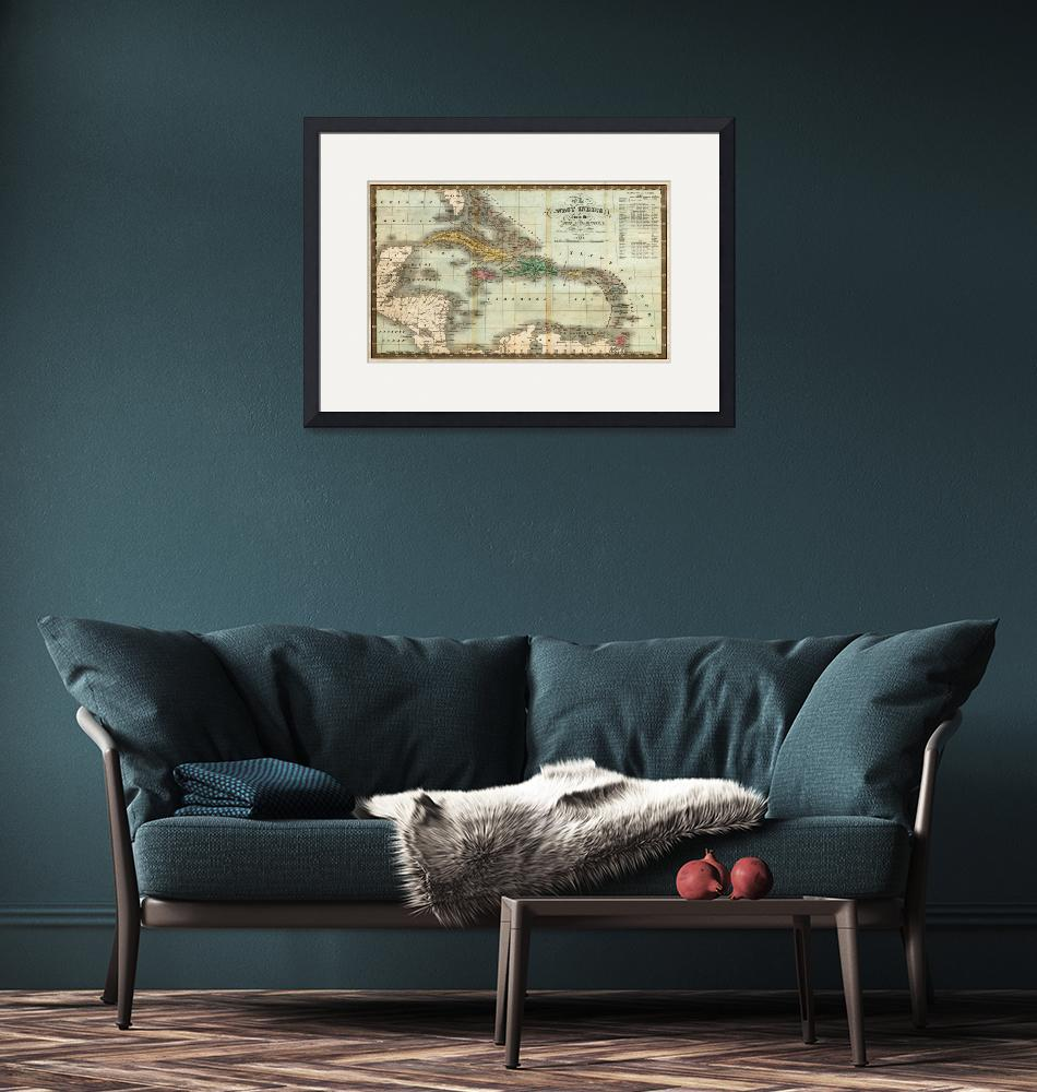 """""""Vintage Map of The Caribbean (1834)""""  by Alleycatshirts"""