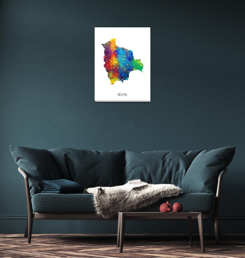 """Bolivia Watercolor Map""  (2019) by ModernArtPrints"