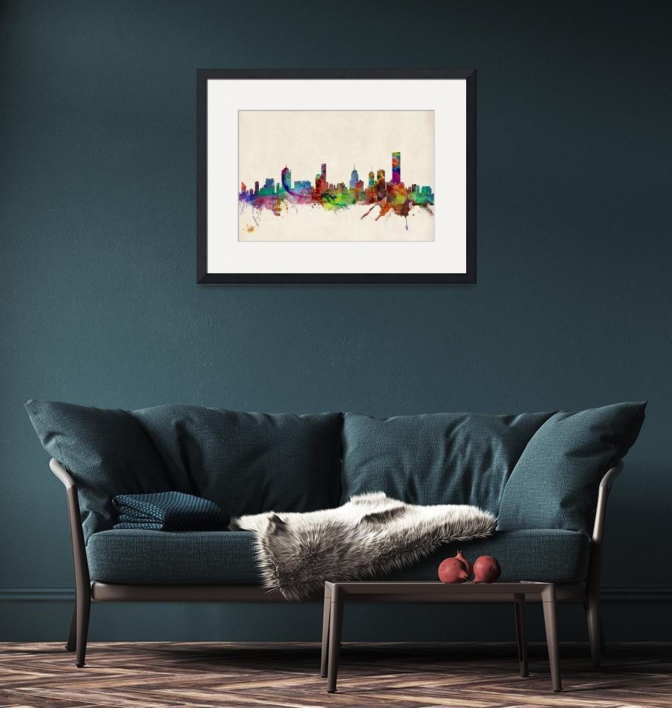 """Melbourne Skyline""  (2013) by ModernArtPrints"