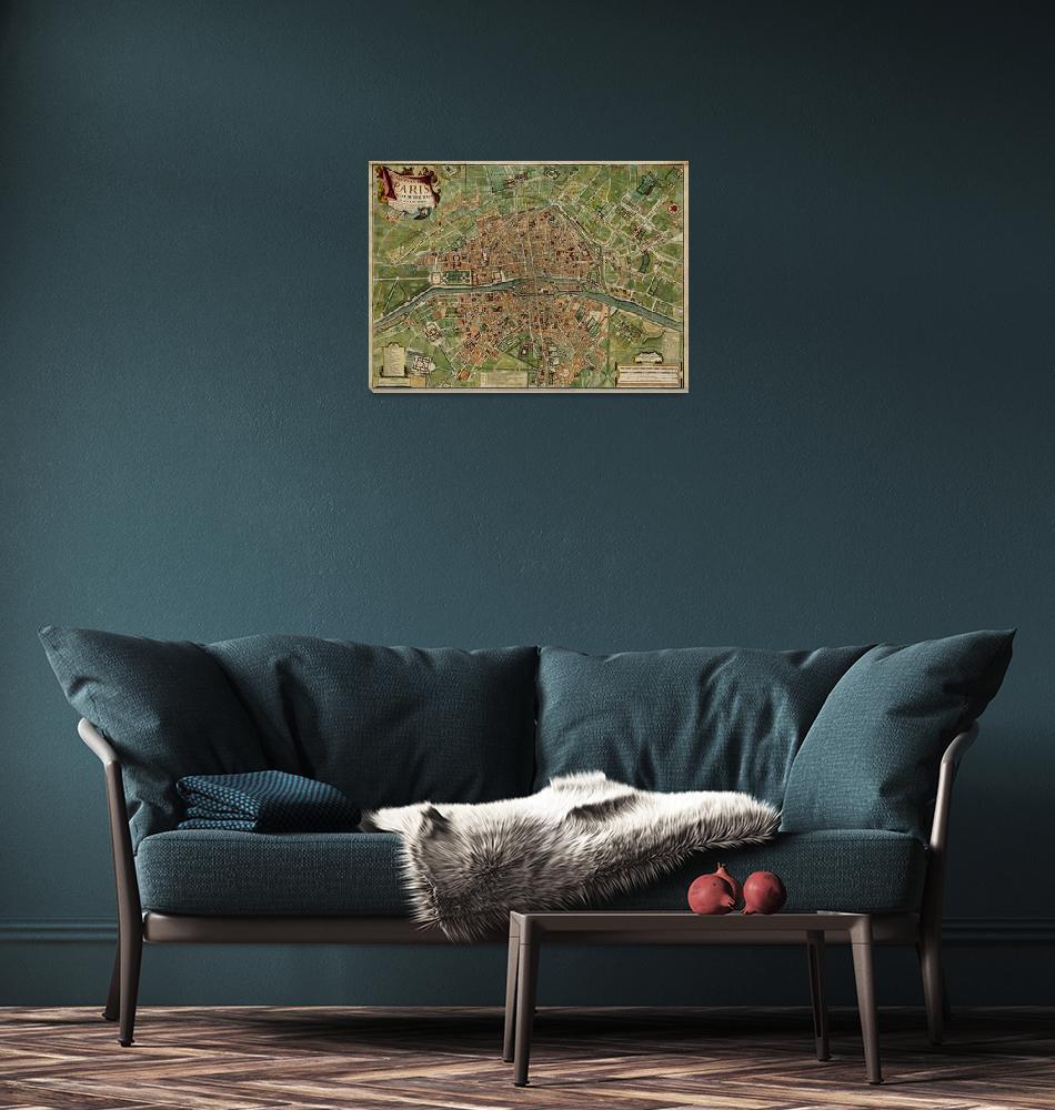 """Vintage Paris France Map (1766)""  by Alleycatshirts"
