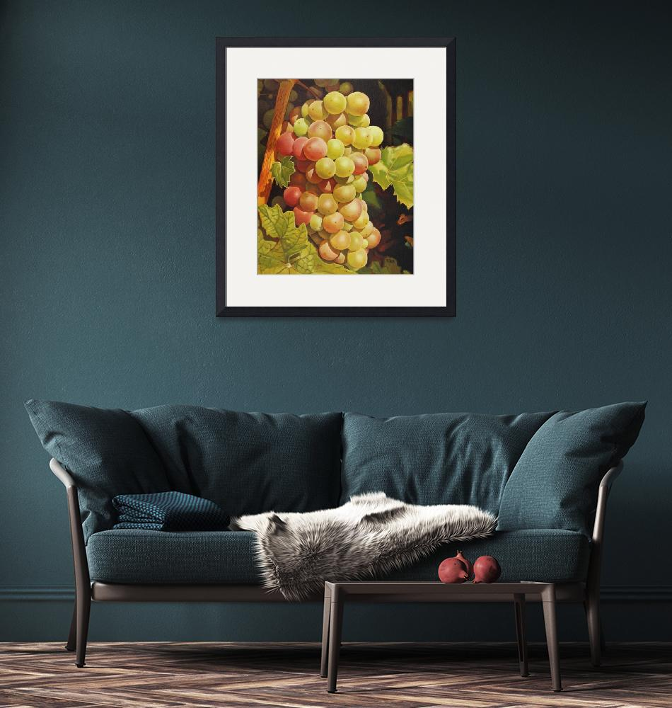 """""""Original oil painting red and green grapes""""  (2019) by yuezeng"""