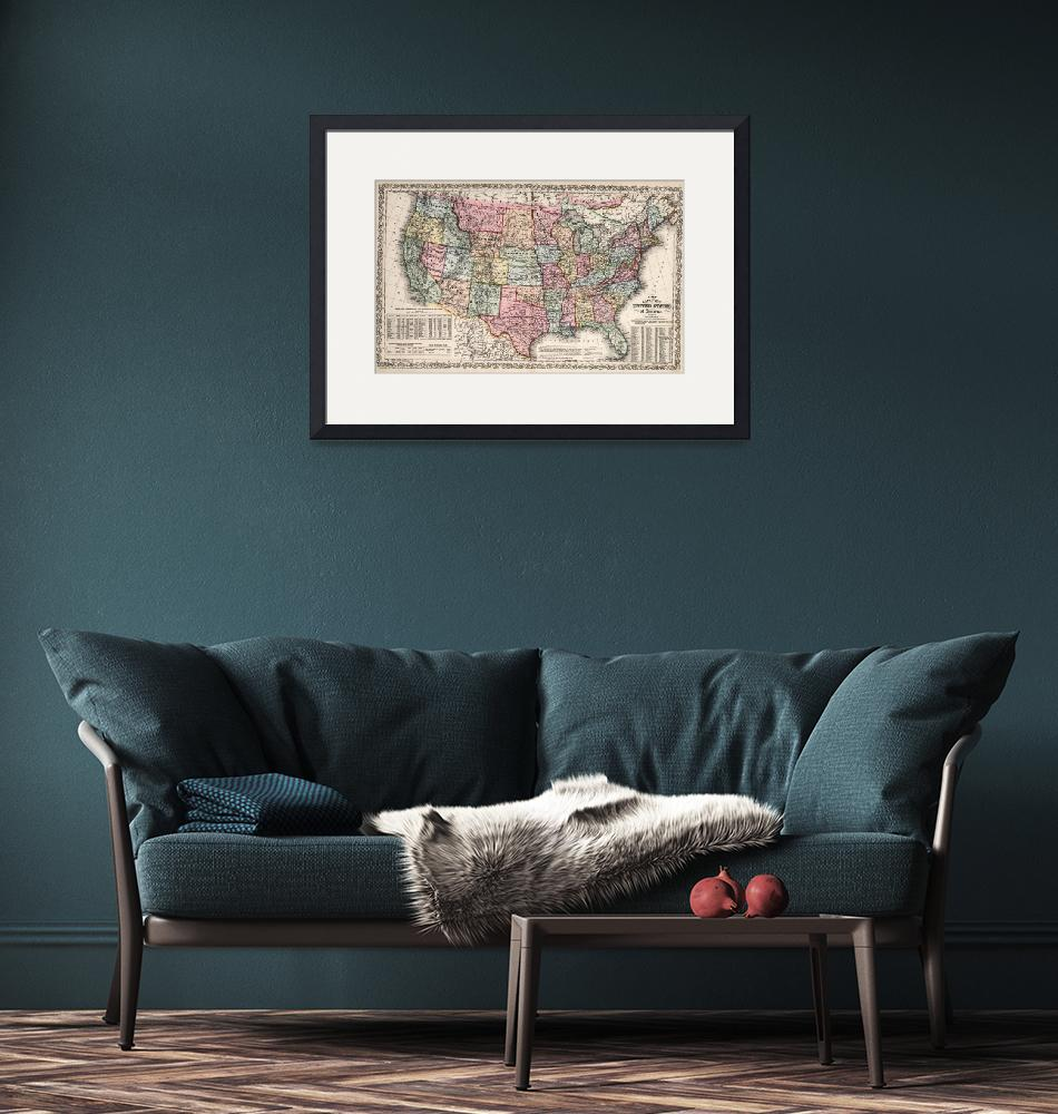 """""""Vintage United States Map (1860)""""  by Alleycatshirts"""