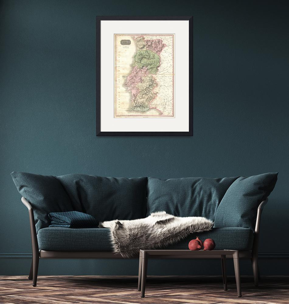 """""""Vintage Map of Portugal (1818)""""  by Alleycatshirts"""