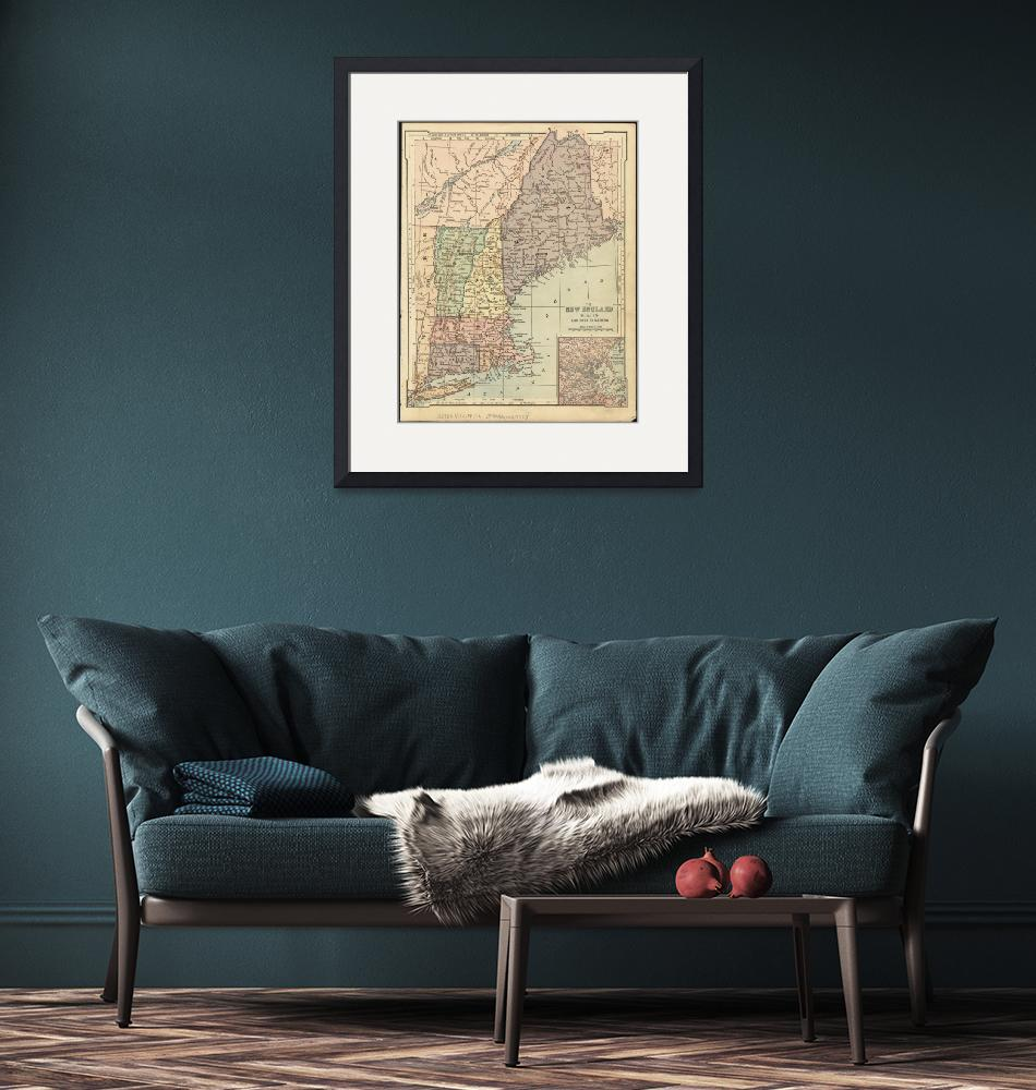 """""""Vintage Map of New England (1880)""""  by Alleycatshirts"""