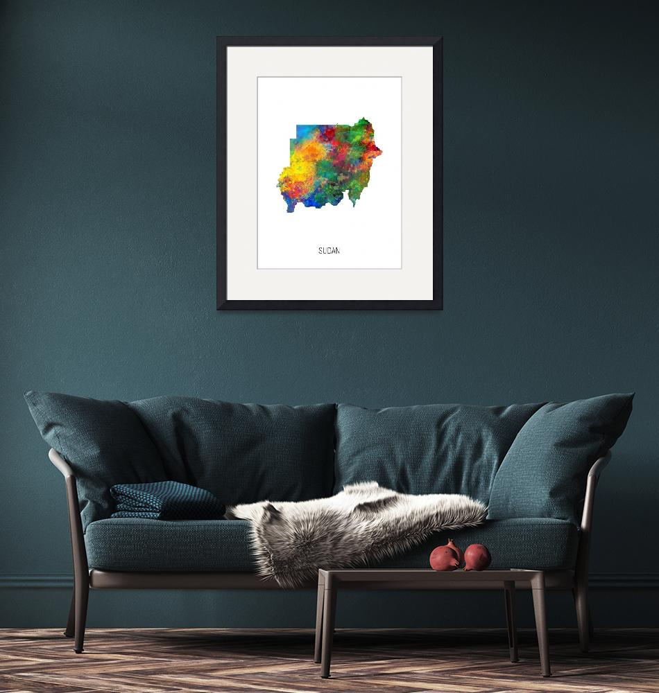 """Sudan Watercolor Map""  (2019) by ModernArtPrints"