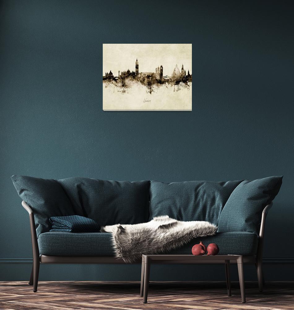 """""""Venice Italy Skyline""""  (2019) by ModernArtPrints"""