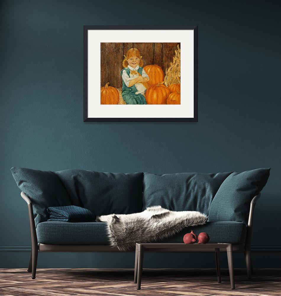 """""""Girl with Kitten and Pumpkins Painting""""  (1981) by catnip009"""