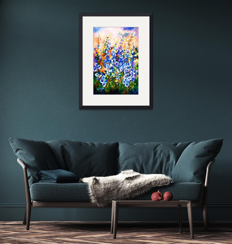 """Delphiniums Impressionist Flowers""  (2015) by GinetteCallaway"