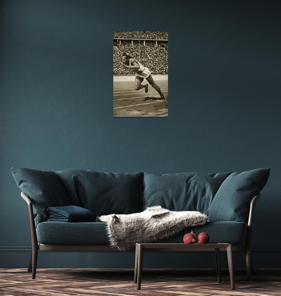 """""""Jesse Owens at the start of the 200m race at the 1""""  by fineartmasters"""
