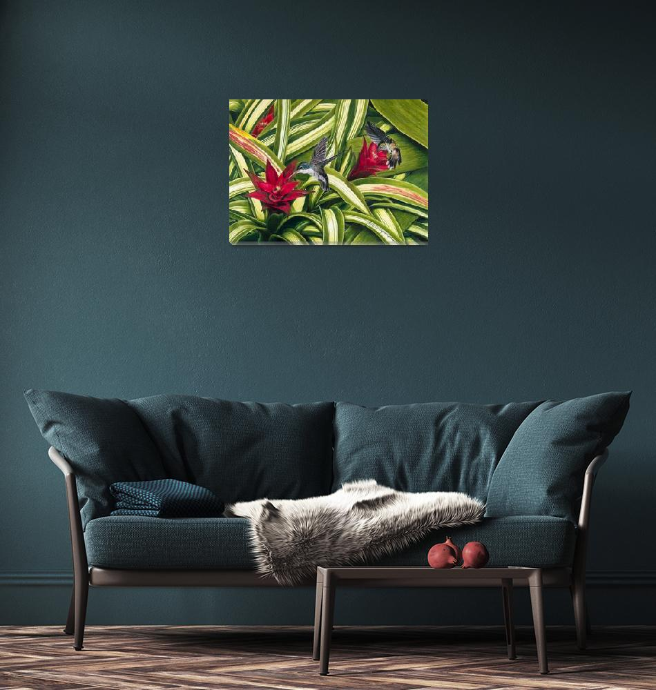 """Hummingbirds and Bromiliad""  (2002) by kathywoolingtonart"