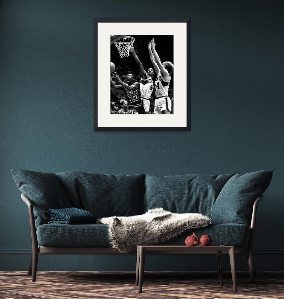 """""""Michael Jordan going for a hard layup""""  by RetroImagesArchive"""