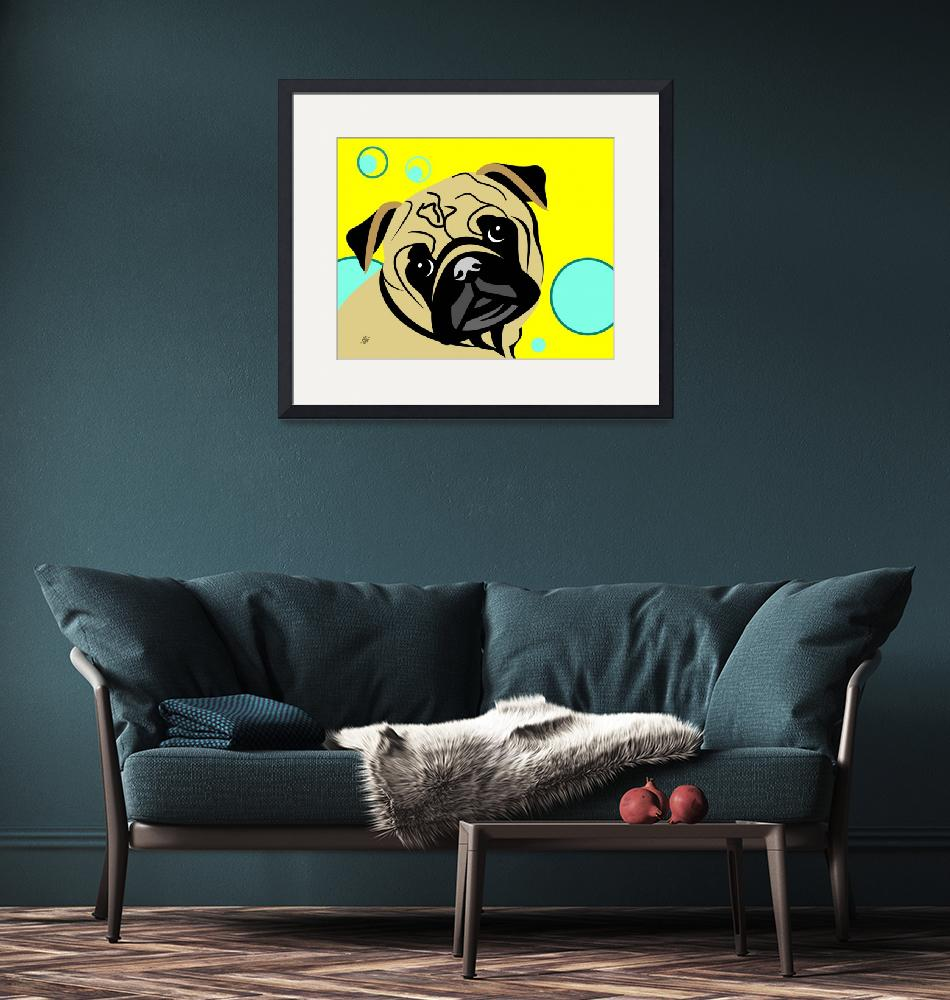 """Cute Pug""  by waterart"