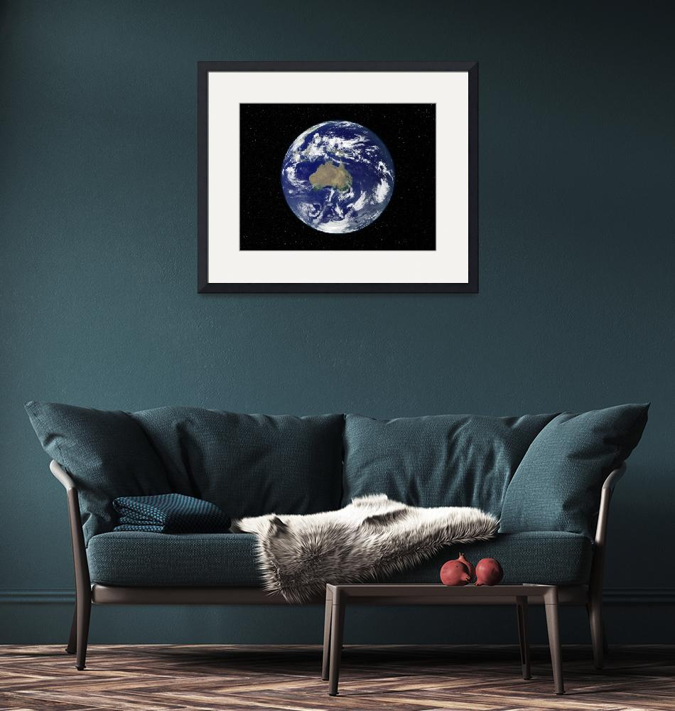 """Fully lit Earth centered on Australia and Oceania""  by stocktrekimages"