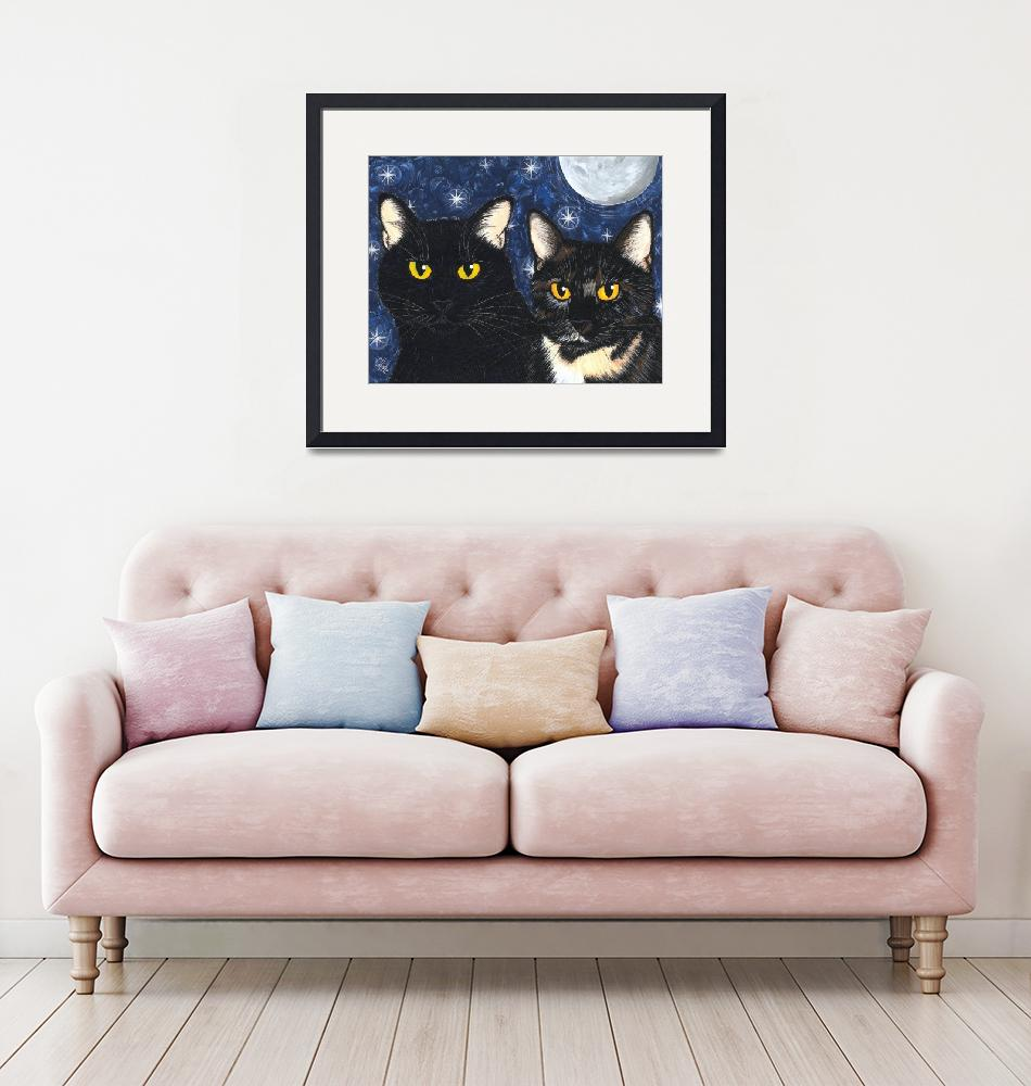"""Strangelings Felines, Black Cat Tortoiseshell Cats""  (2005) by tigerpixie"