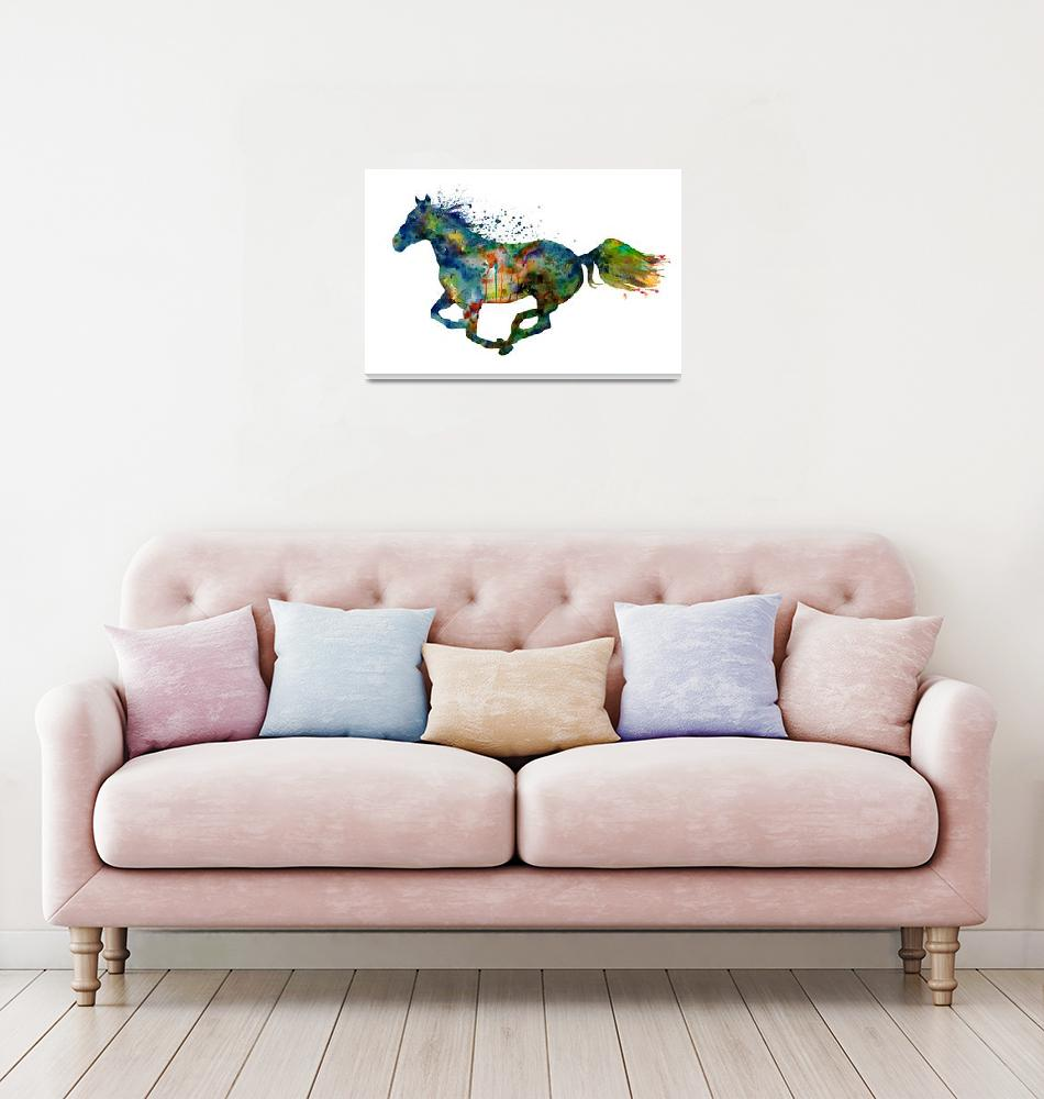 """""""Colorful Running Horse Silhouette""""  (2021) by MarianVoicu"""