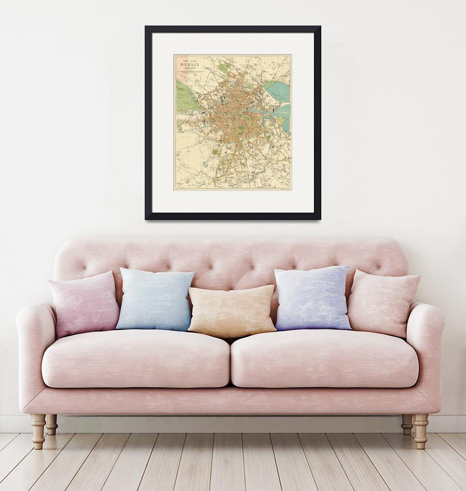 """""""Vintage Map of Dublin Ireland (1914)""""  by Alleycatshirts"""