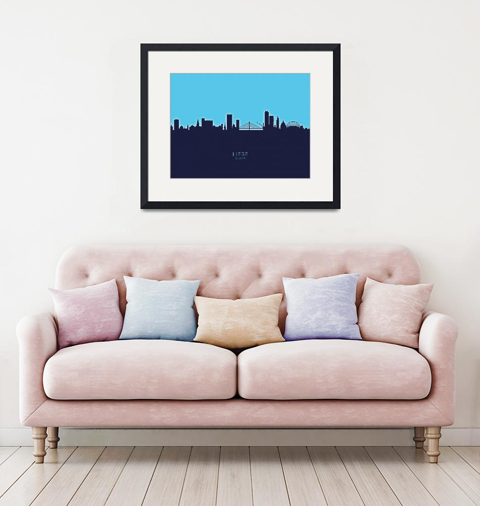 """Liege Belgium Skyline""  (2020) by ModernArtPrints"