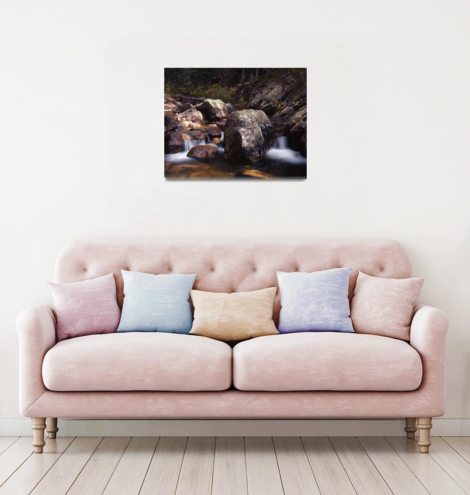 """Boulder Strewn Stream Waterfalls""  (2006) by FallingSilver"