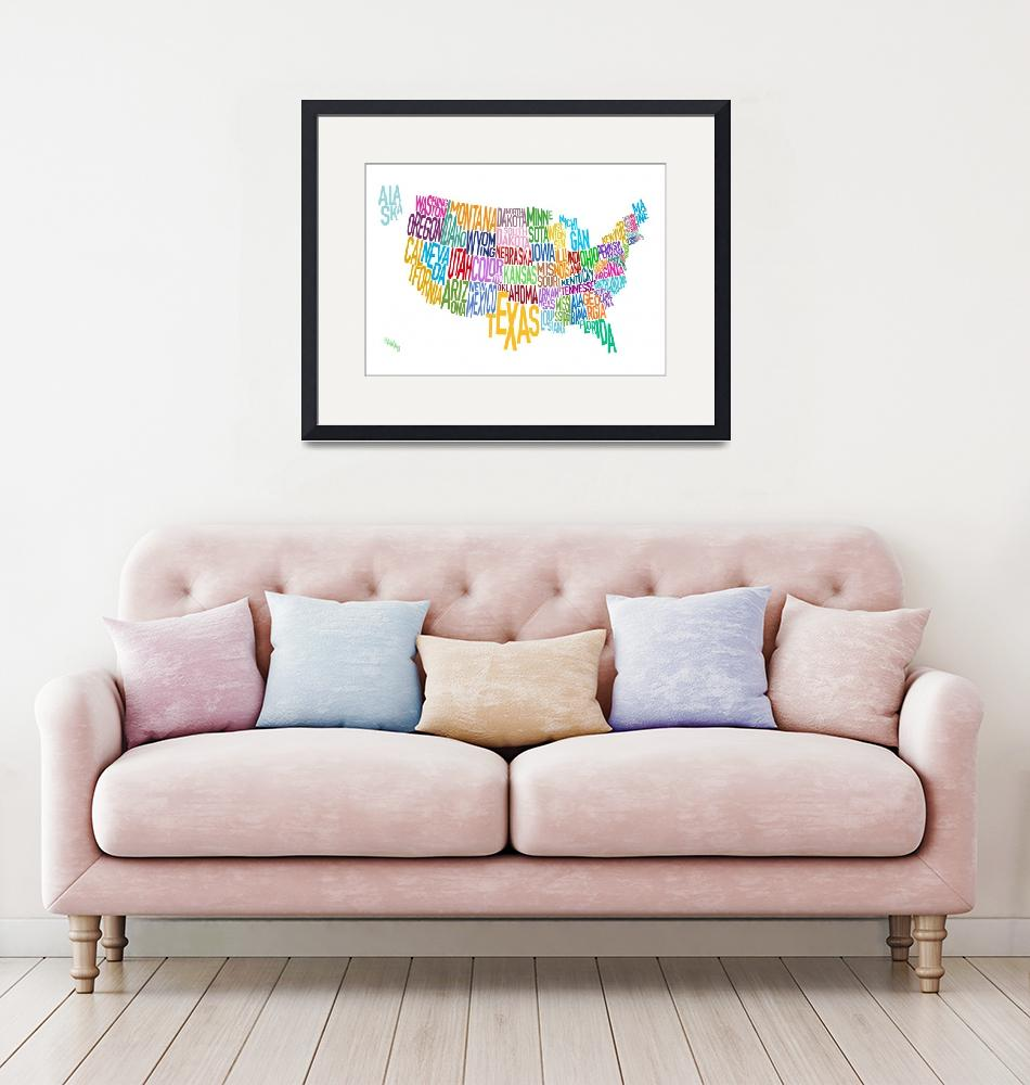 """""""United States Text Map""""  (2010) by ModernArtPrints"""