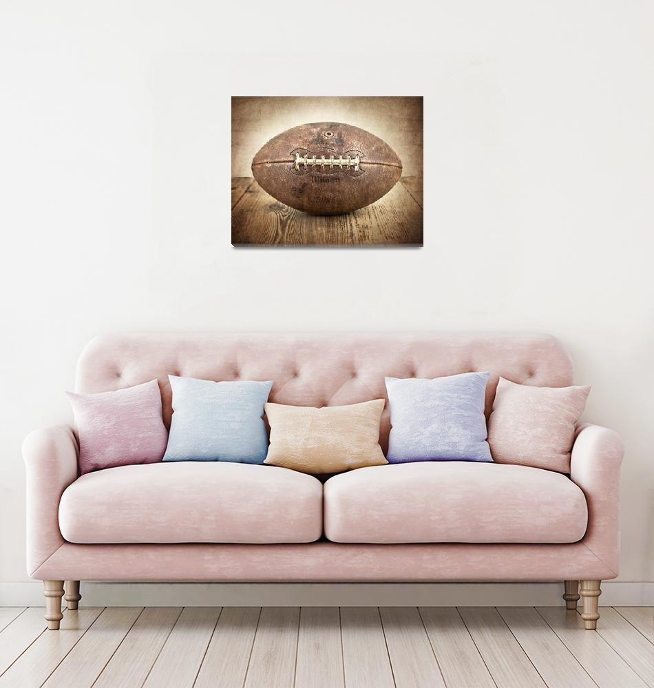 """Vintage 1950s Football on Wood""  (2012) by shawnstpeter"