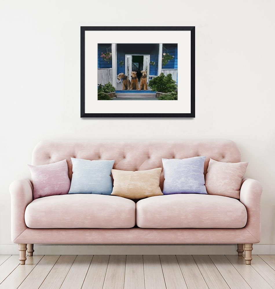 """""""3 Airedale on porch""""  by Rmbartstudio"""
