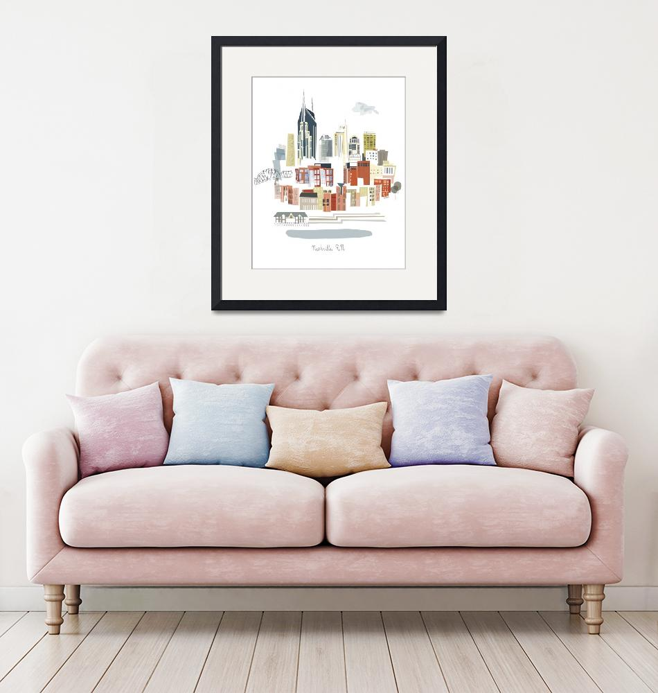 """""""Nashville Modern Cityscape Illustration""""  by AlbieDesigns"""