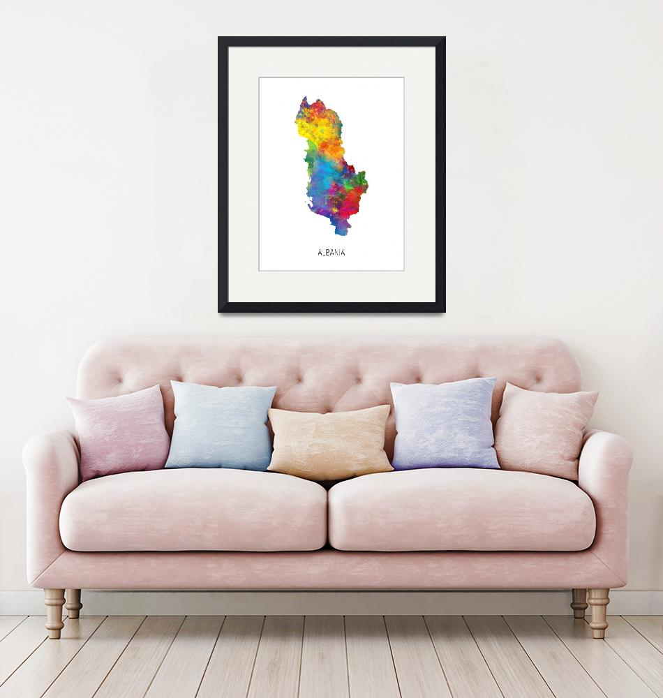 """Albania Watercolor Map""  (2019) by ModernArtPrints"