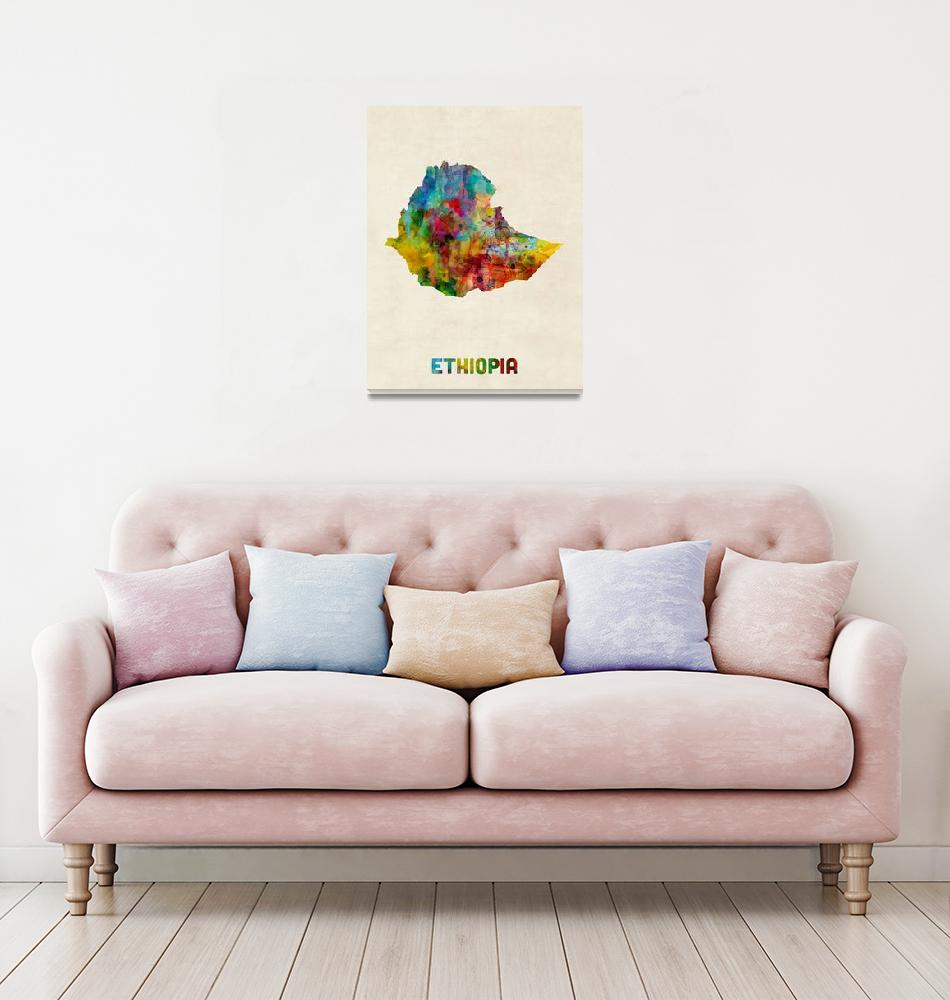 """Ethiopia Watercolor Map""  (2017) by ModernArtPrints"