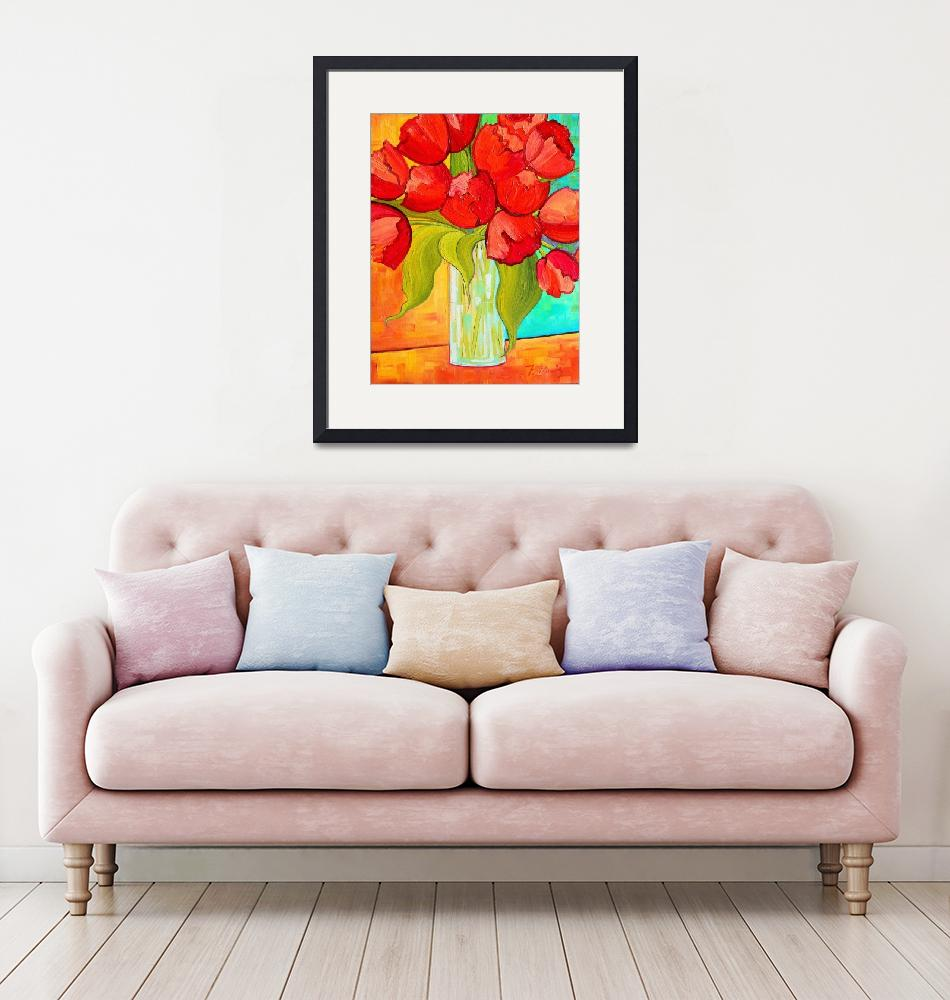 """""""Red Tulip Bouquet""""  (2015) by PeggySueDavis"""
