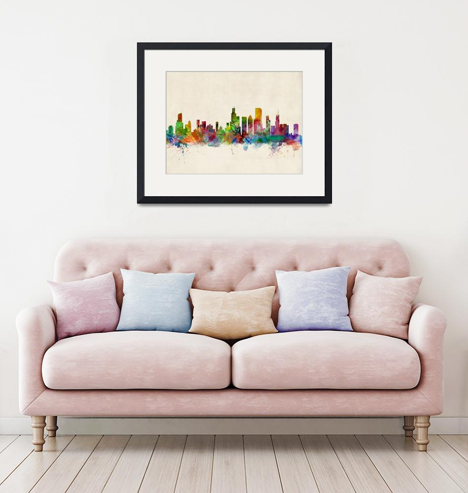 """Chicago City Skyline""  (2013) by ModernArtPrints"