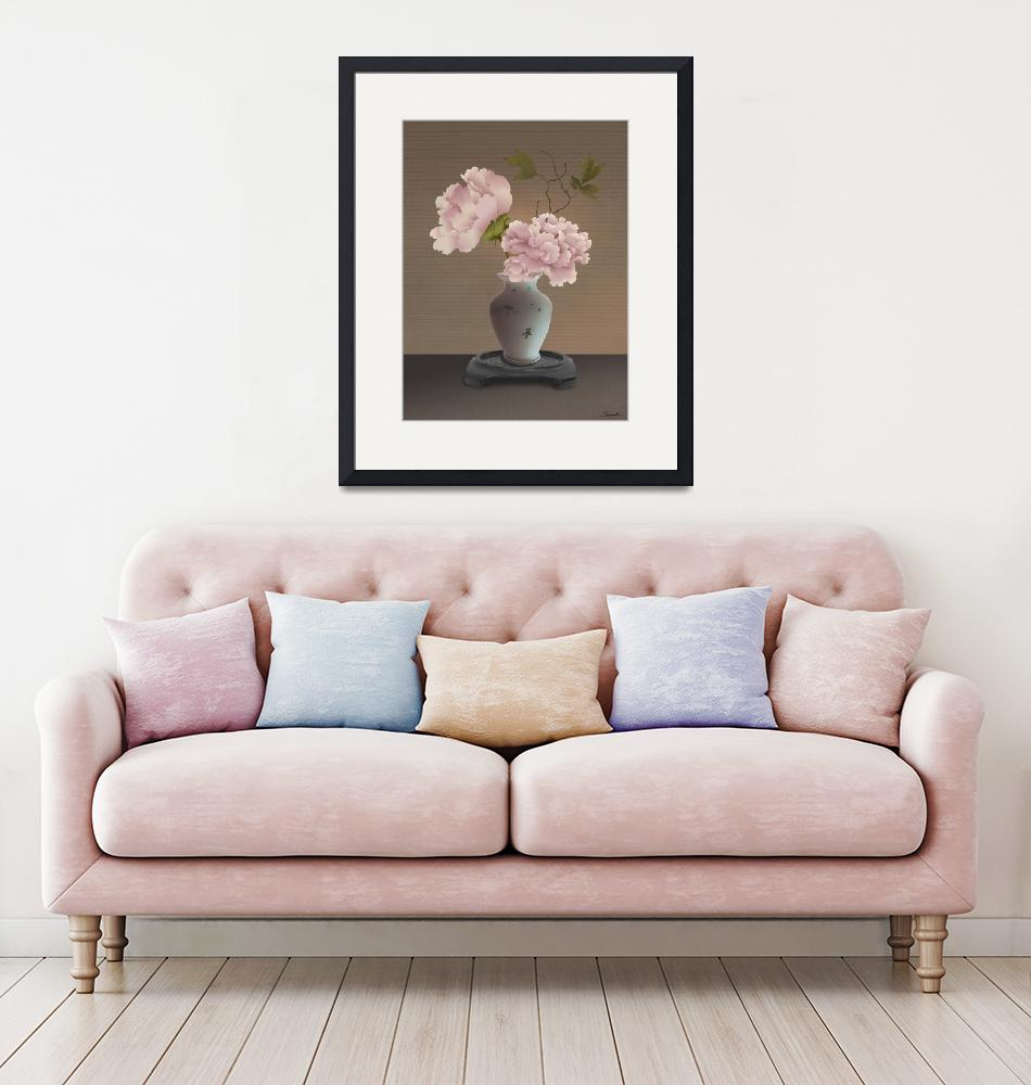 """Chinese Pink Peonies in Vase""  (2019) by spadecaller"