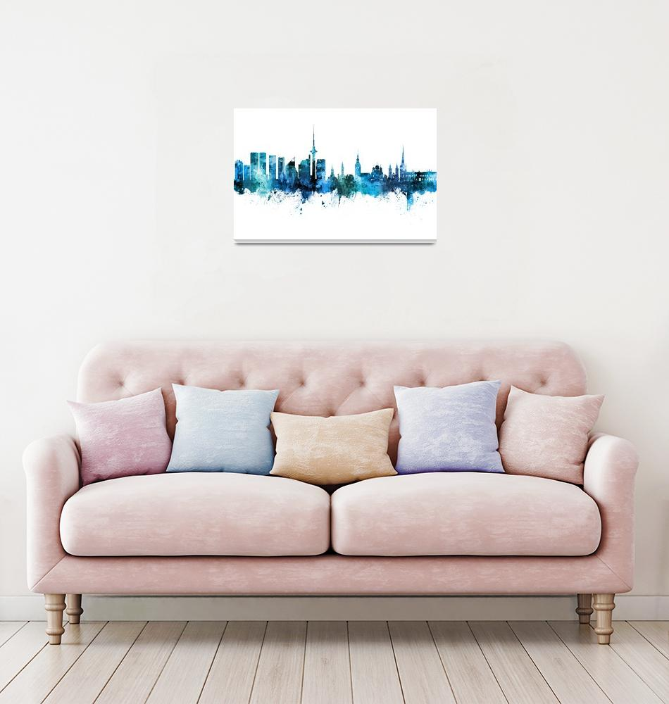 """Tallinn Estonia Skyline""  (2019) by ModernArtPrints"