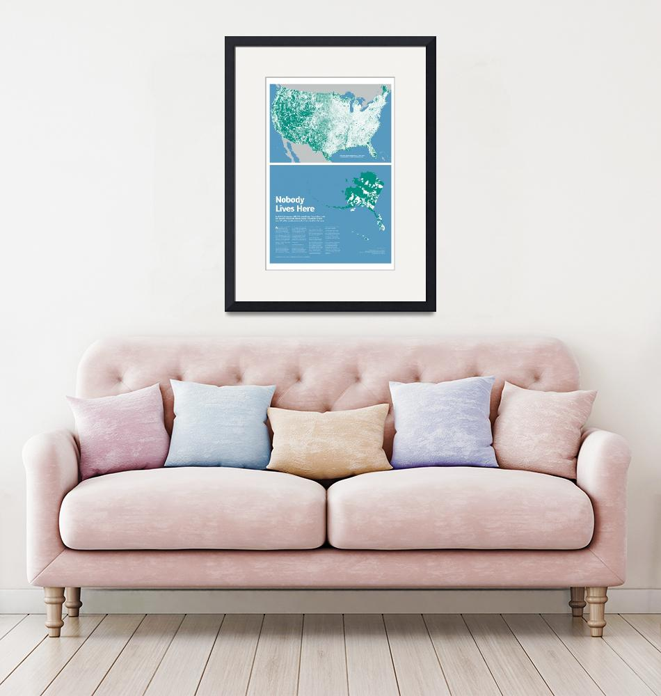 """""""Nobody Lives Here Map Print""""  (2014) by mapsbynik"""