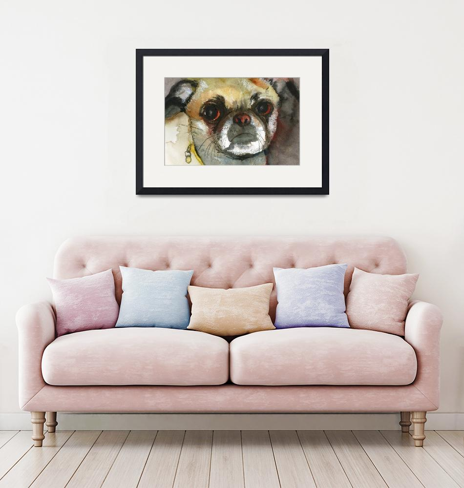 """Ginger Pug Bug, Watercolor Painting Animal Dog Art""  (2009) by schulmanart"